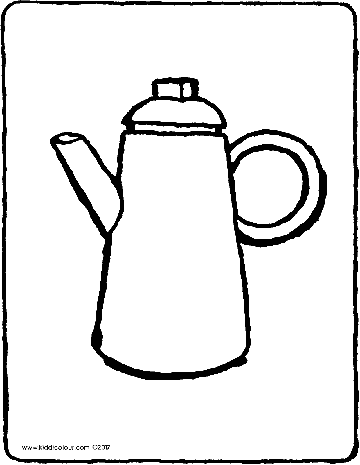 coffee pot colouring page drawing picture 01V