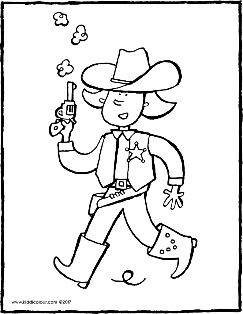cowboy Emma colouring page drawing picture 01V
