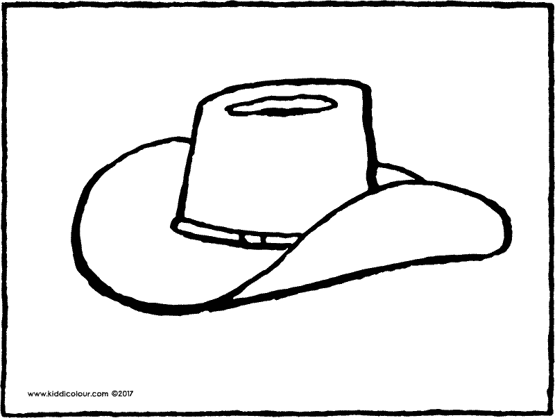 cowboy hat colouring page drawing picture 01k