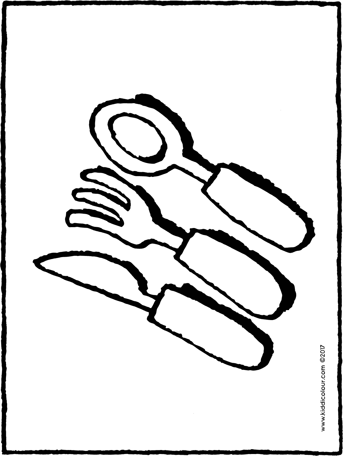 cutlery colouring page drawing picture 01H