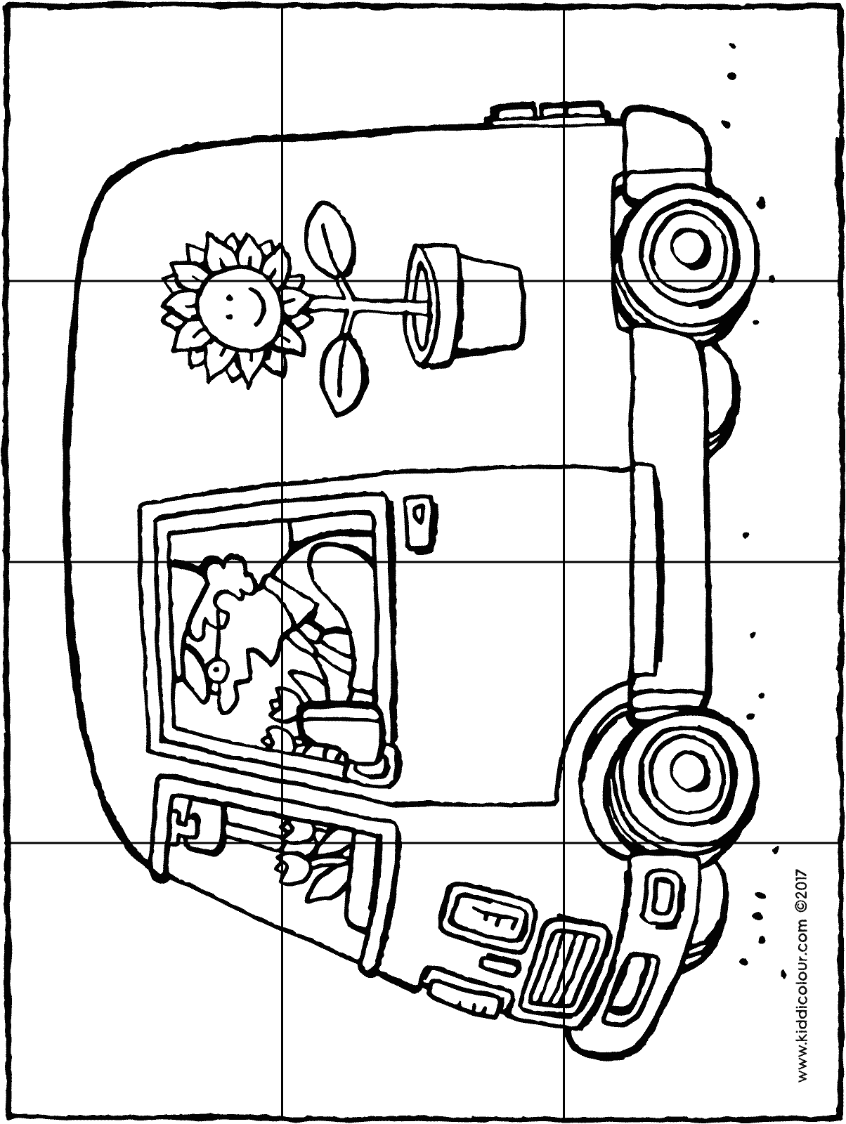 delivery van puzzle colouring page drawing picture p12H