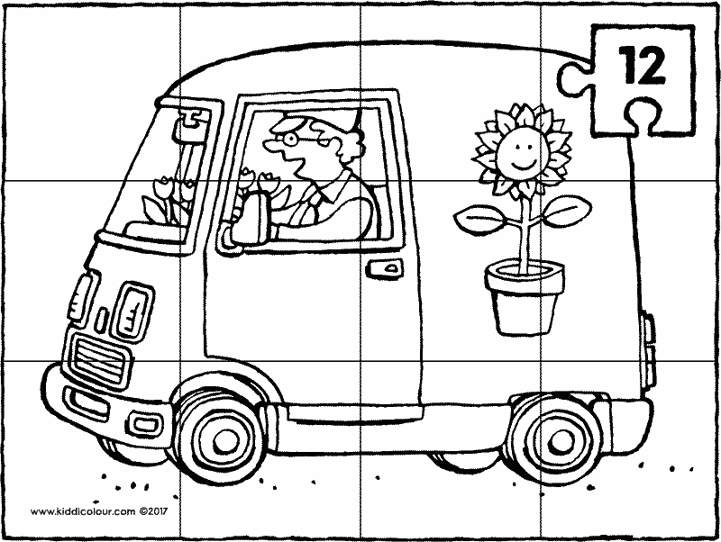 delivery van puzzle colouring page drawing picture p12k