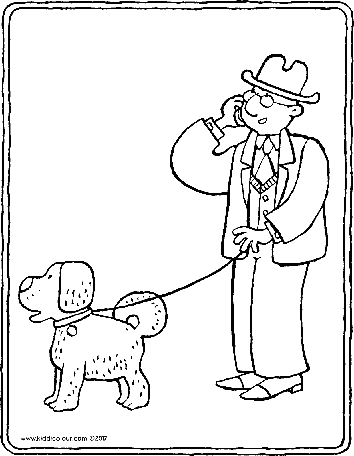dog on a lead colouring page drawing picture 01V