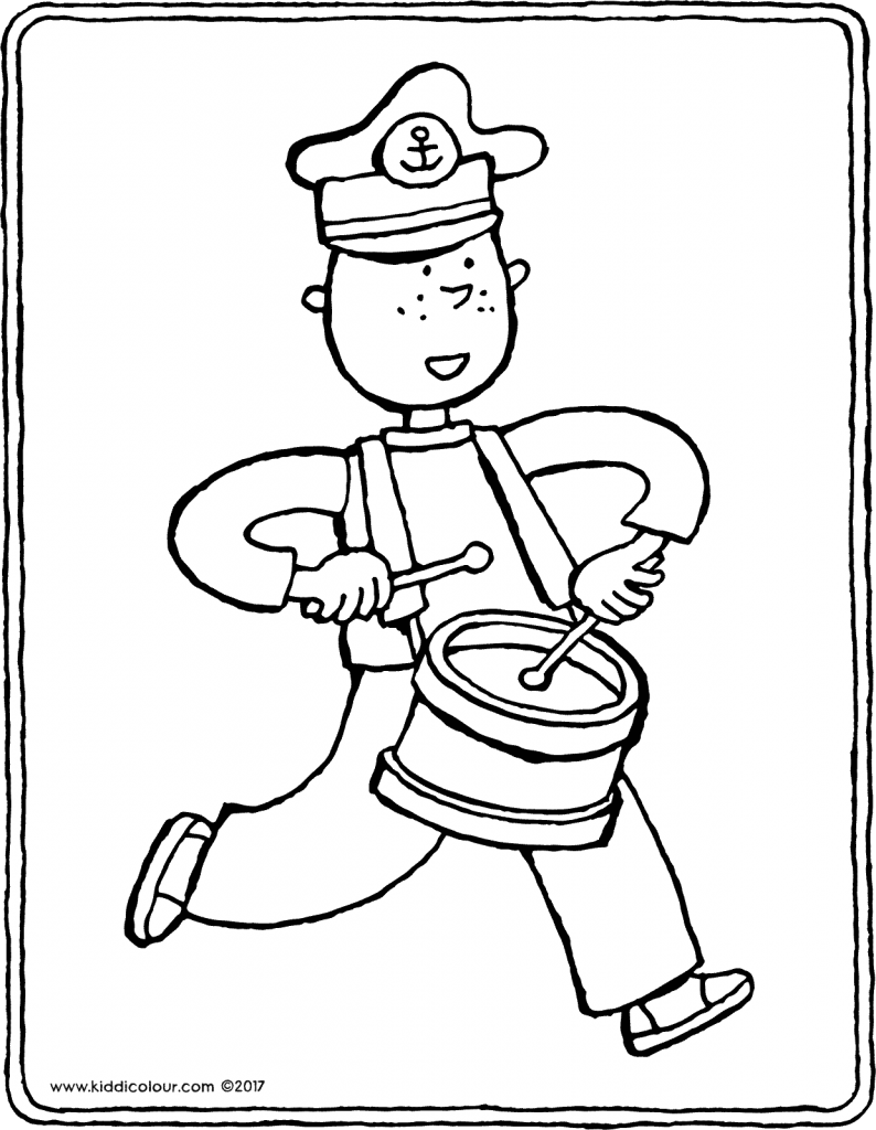 drummer colouring page drawing picture 01V