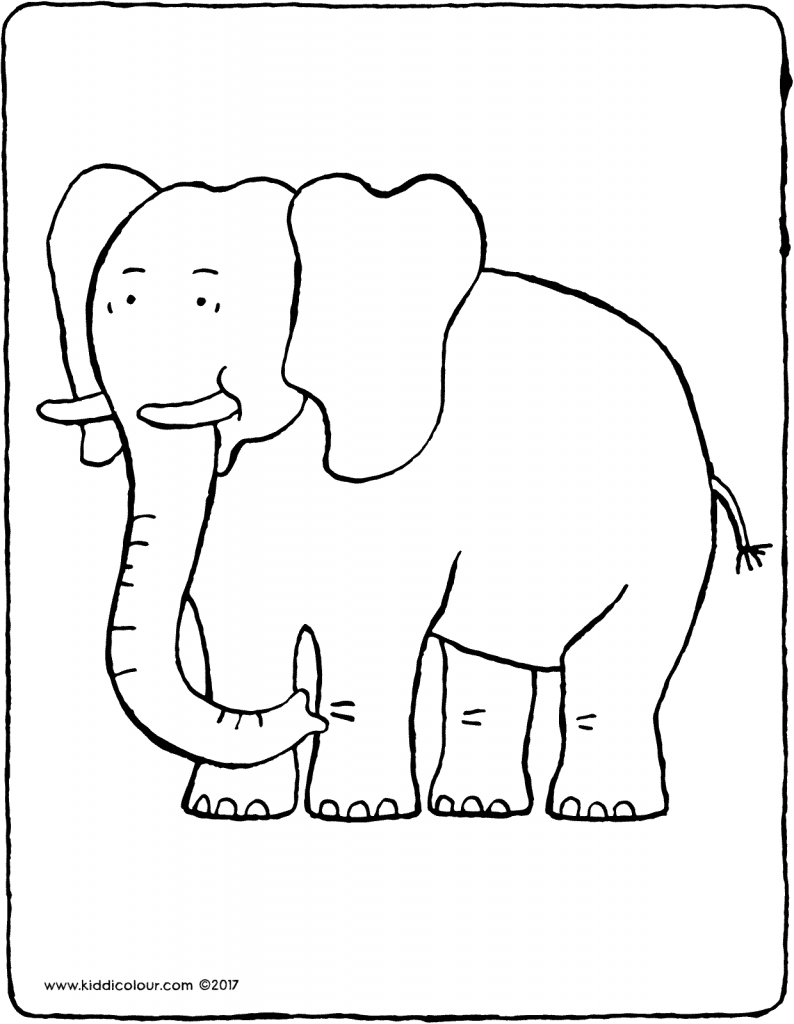 elephant colouring page drawing picture 01V