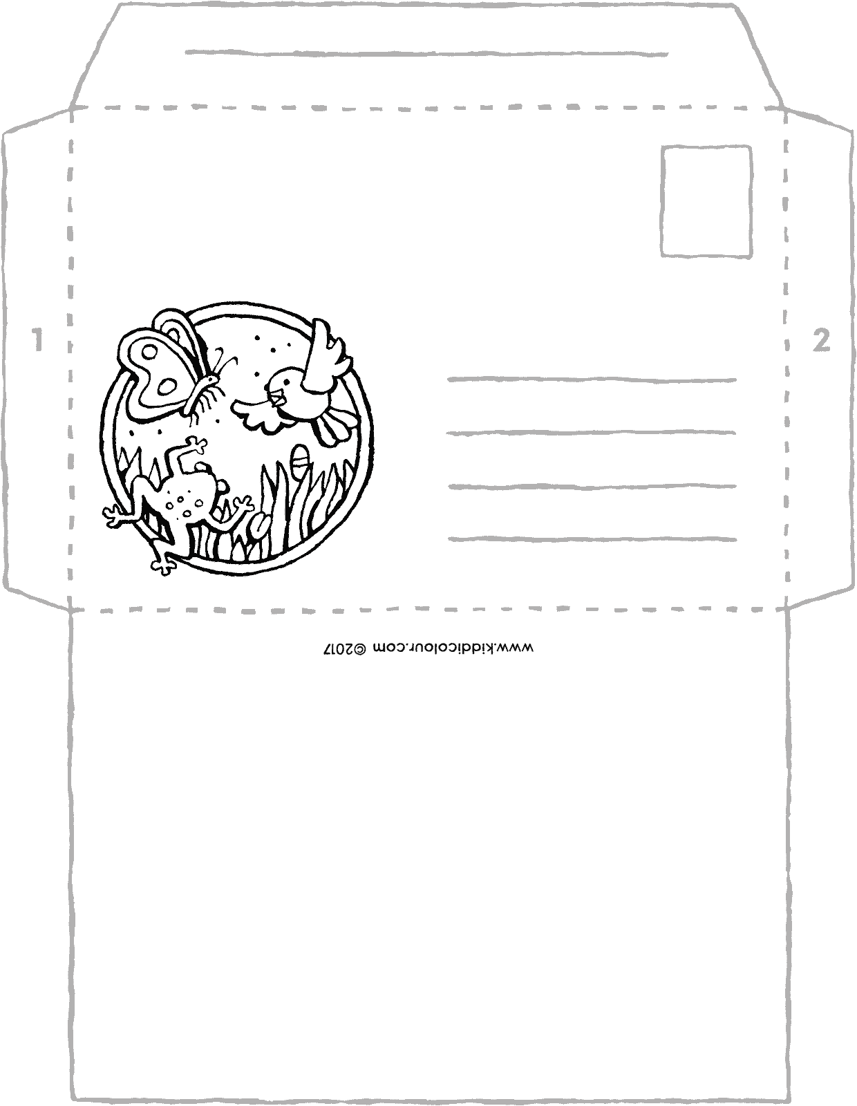 envelope craft colouring page drawing picture 01V