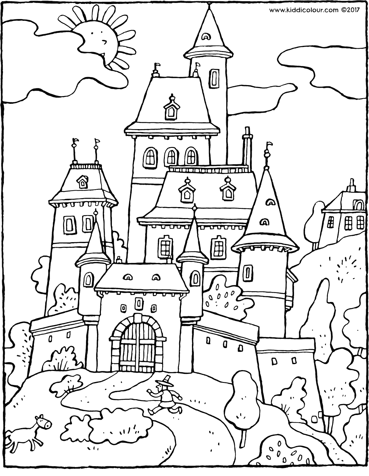 fairy-tale castle colouring page drawing picture 01H