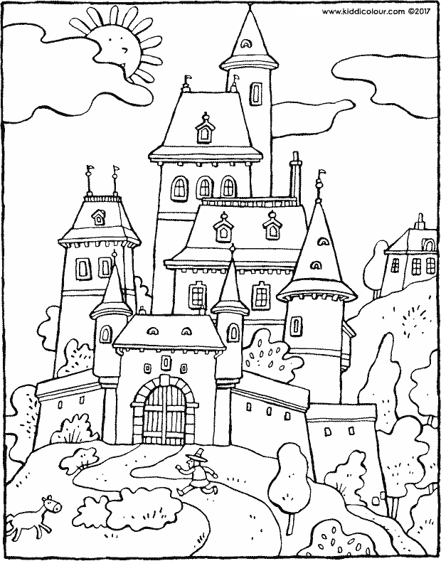 fairy-tale castle colouring page drawing picture 01k