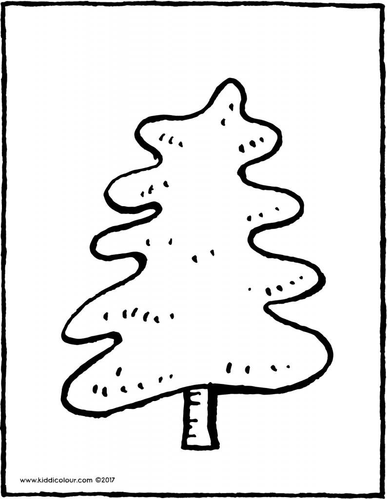 fir tree colouring page drawing picture 07V