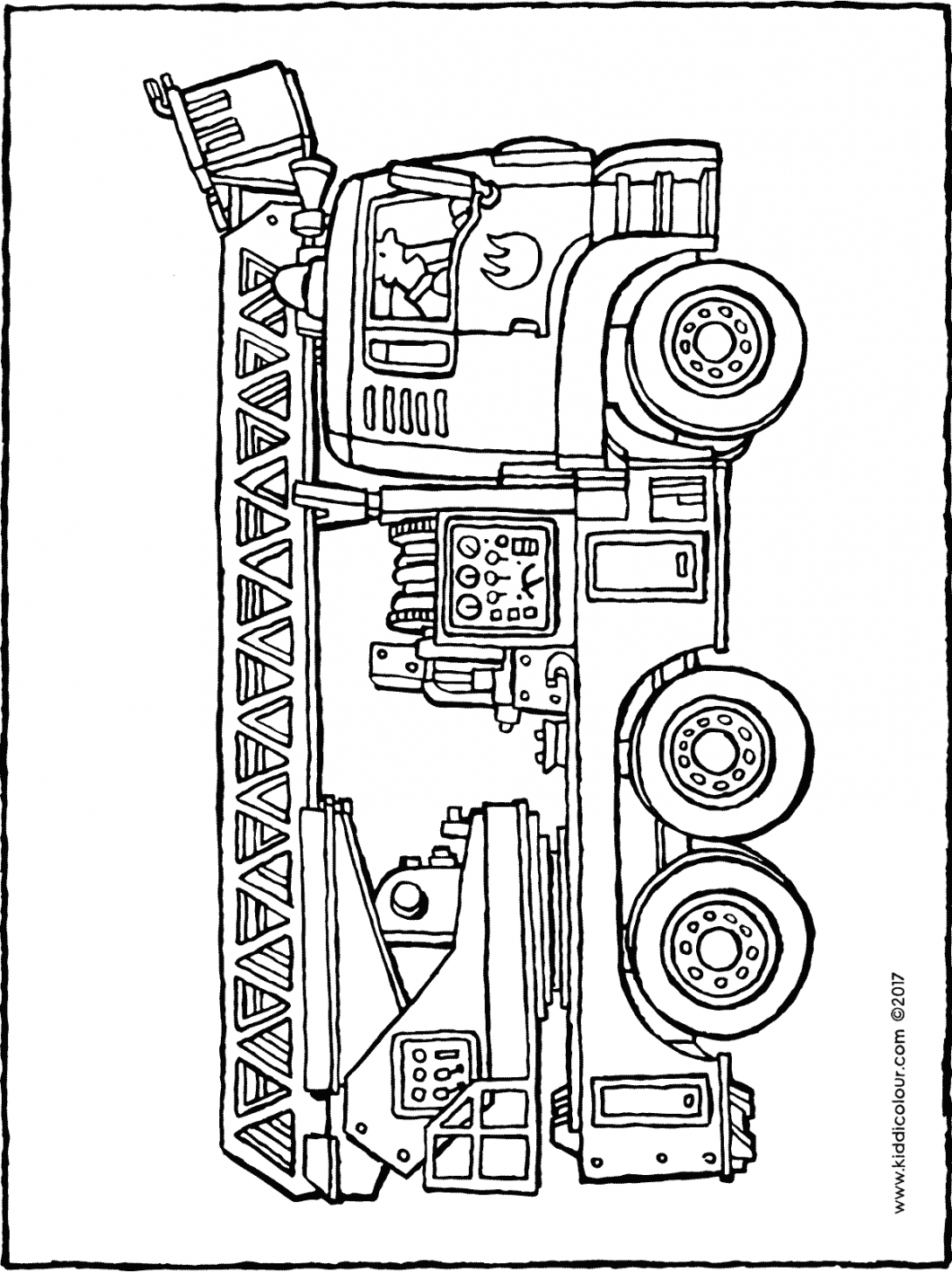 fire engine colouring page drawing picture 01H