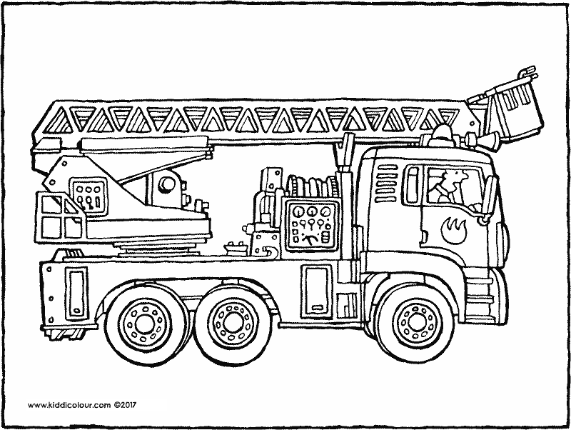 fire engine colouring page drawing picture 01k