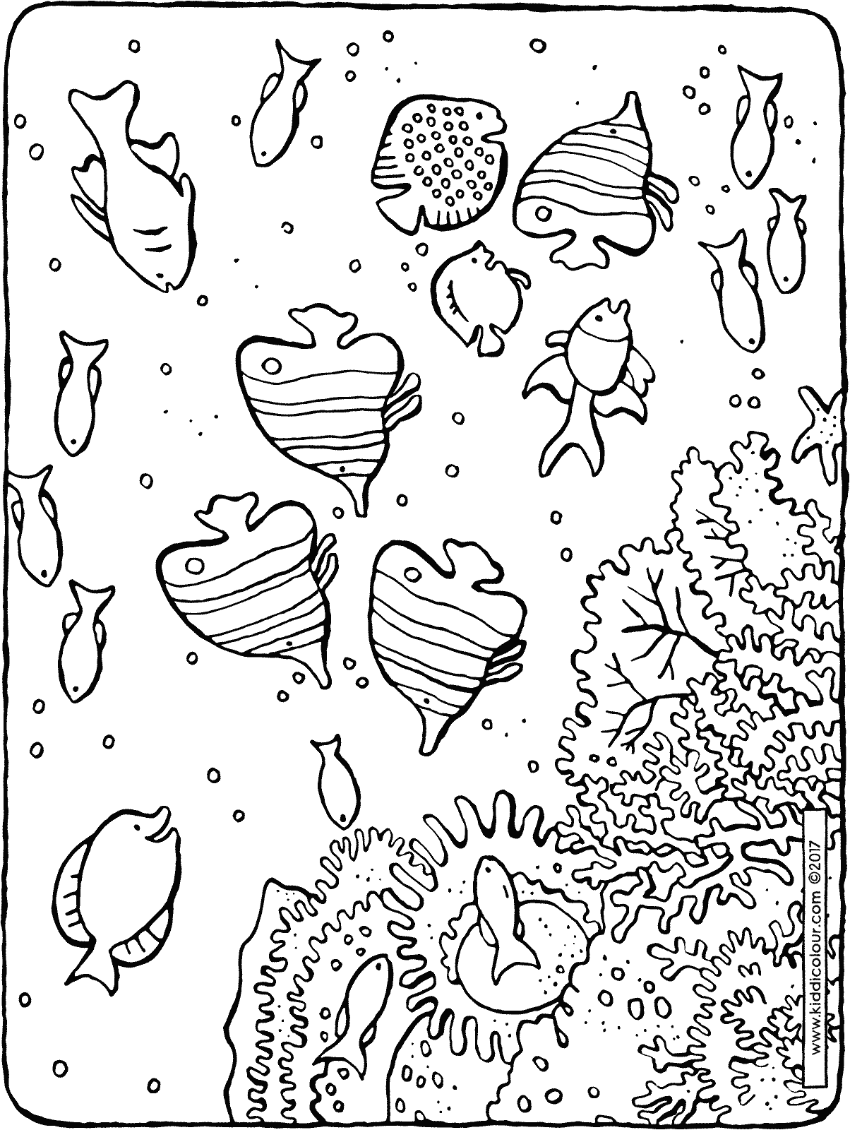 fish in the sea colouring page drawing picture 01H