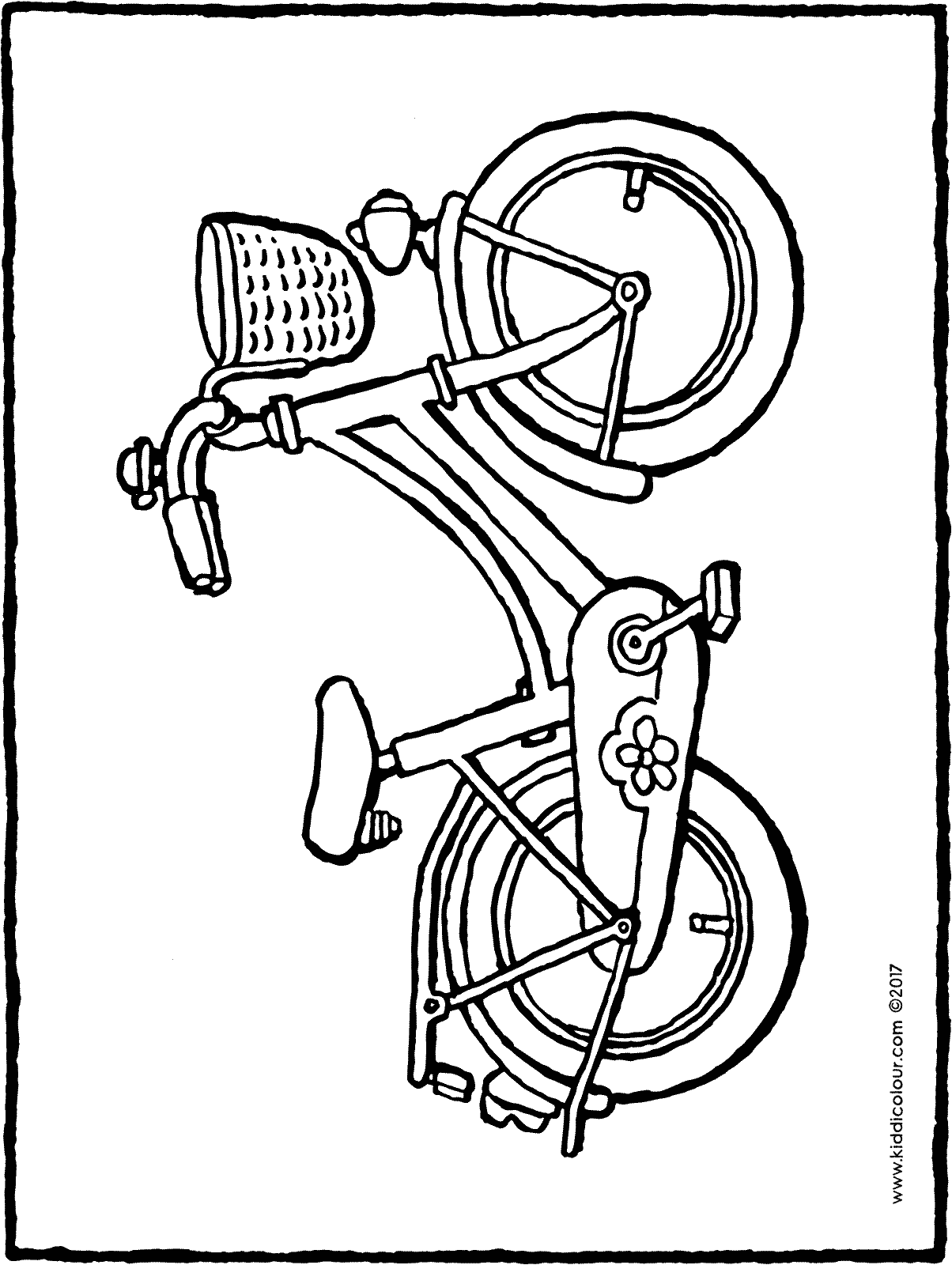 girl's bicycle colouring page drawing picture 01H