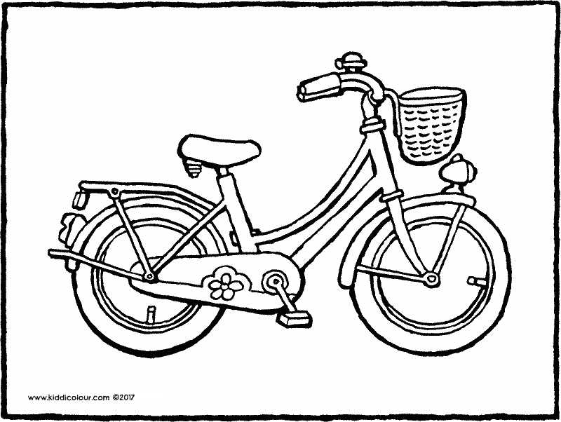 girl's bicycle colouring page drawing picture 01k