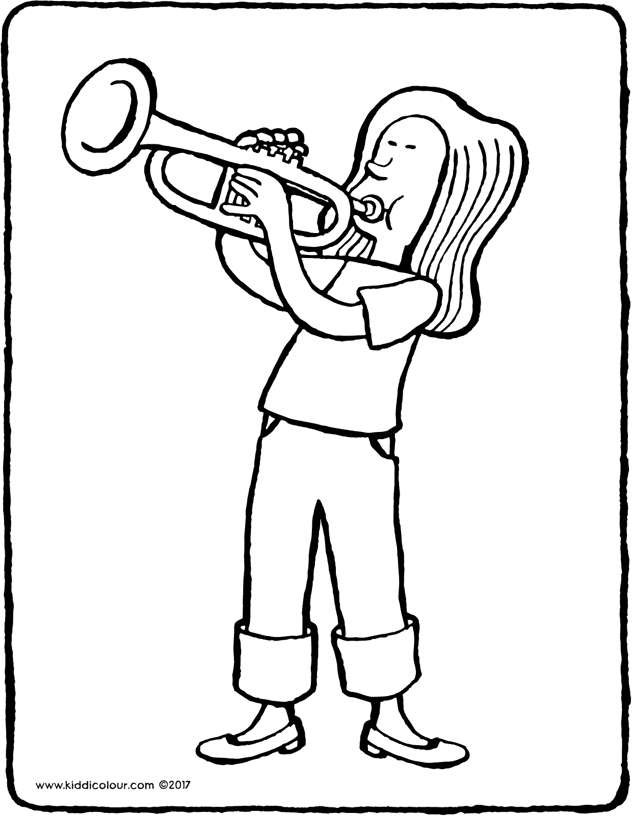 girl playing trumpet colouring page drawing picture 01V