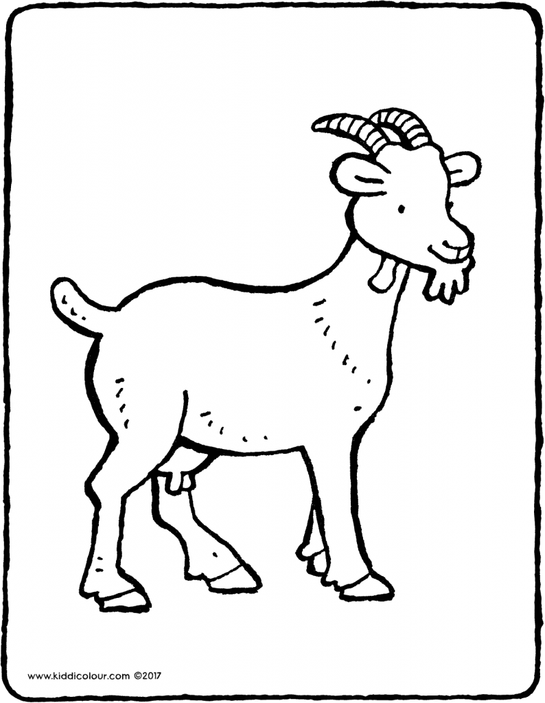 goat colouring page drawing picture 01V
