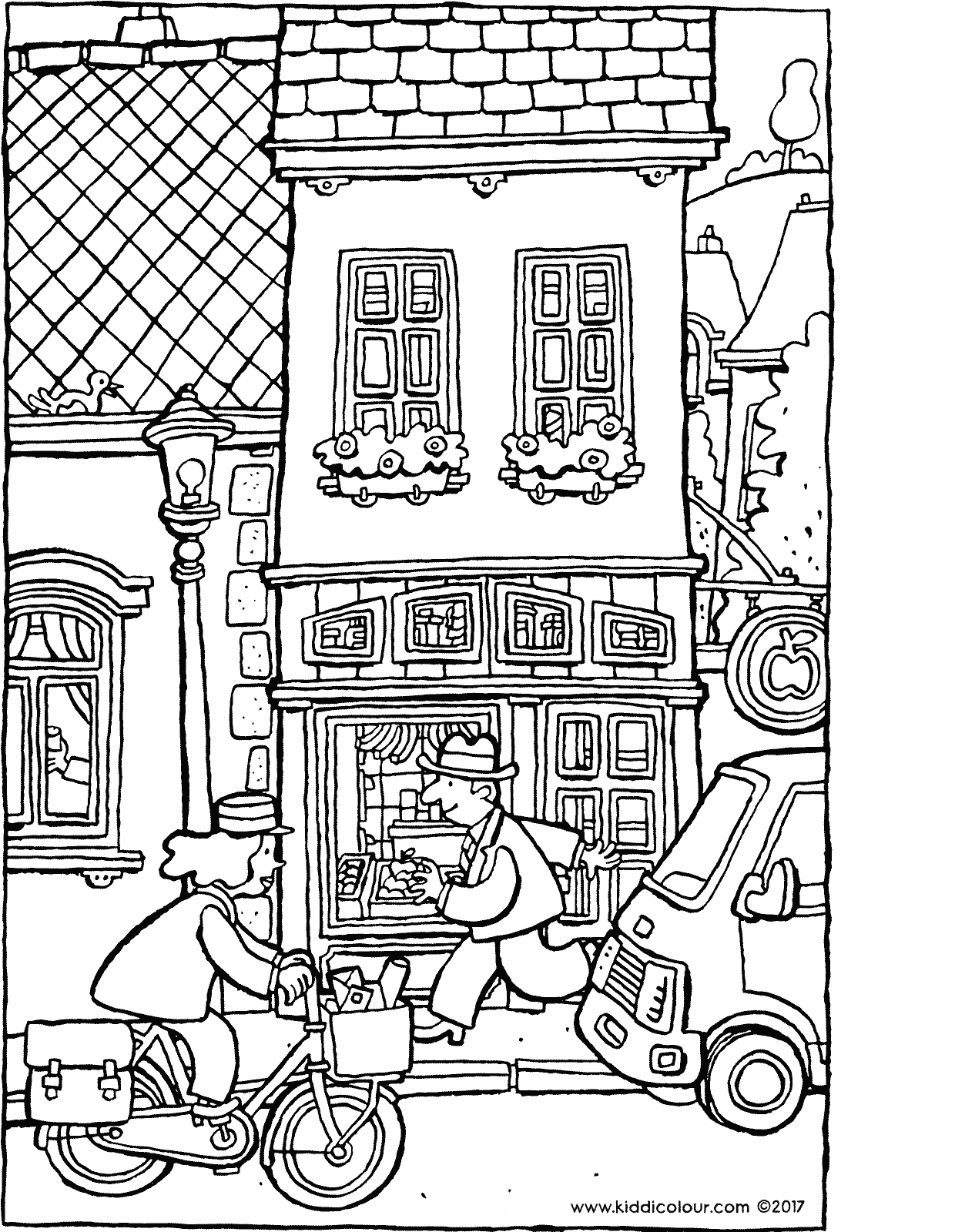 grocery store colouring page drawing picture 01V