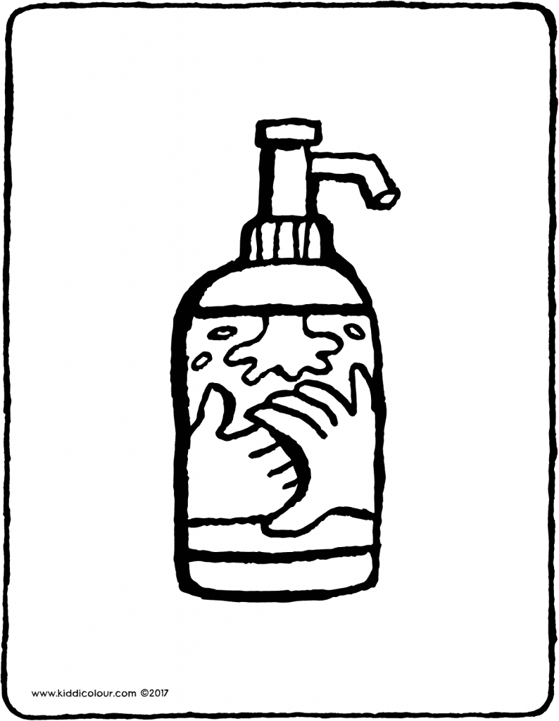 hand soap pump colouring page drawing picture 01V