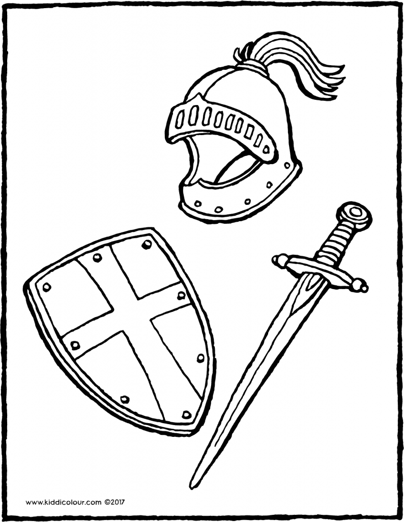 helmet, shield and sword colouring page drawing picture 01V