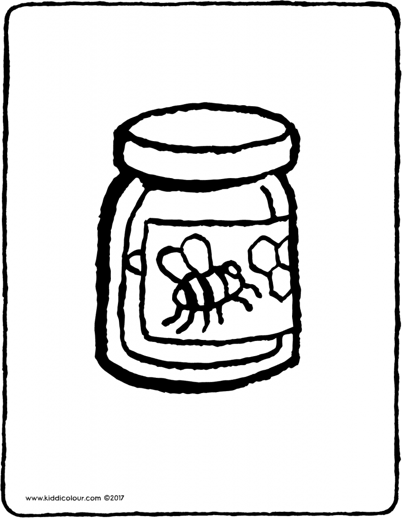 honey pot colouring page drawing picture 01V