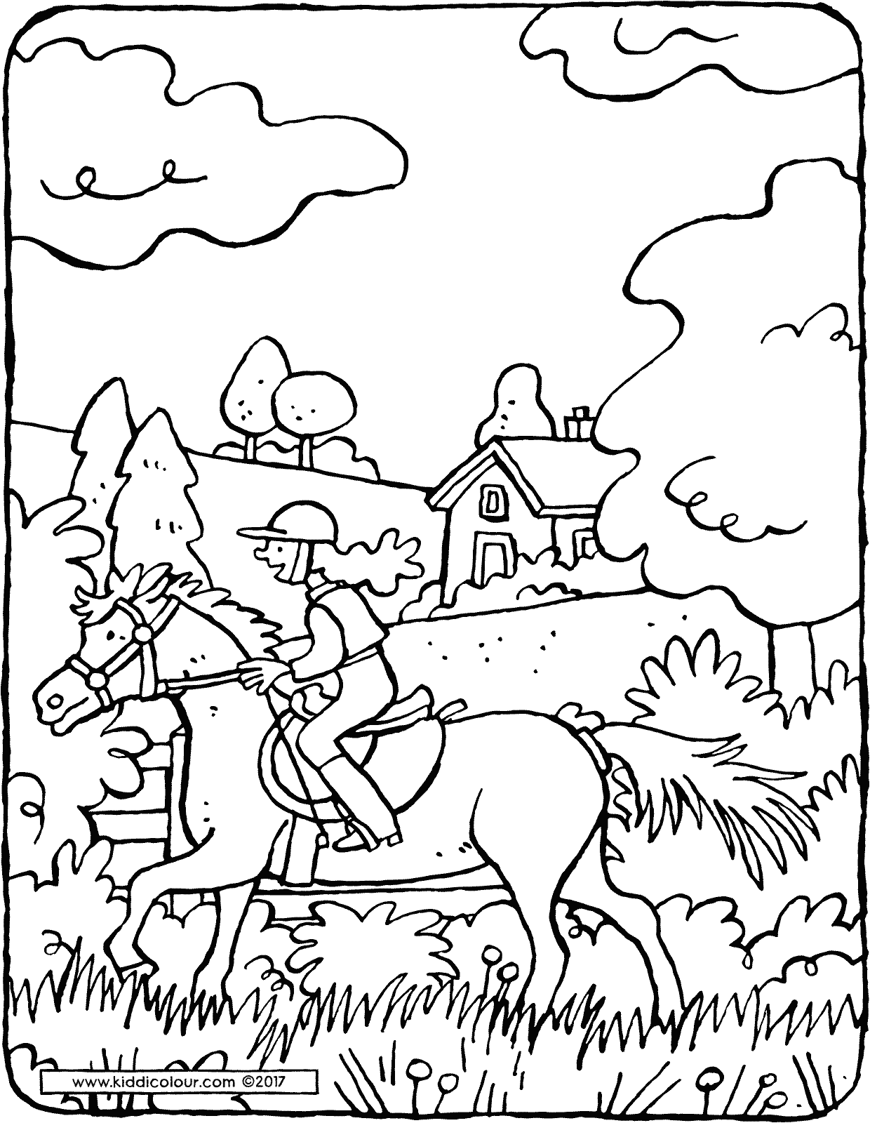 horse riding colouring page drawing picture 01V