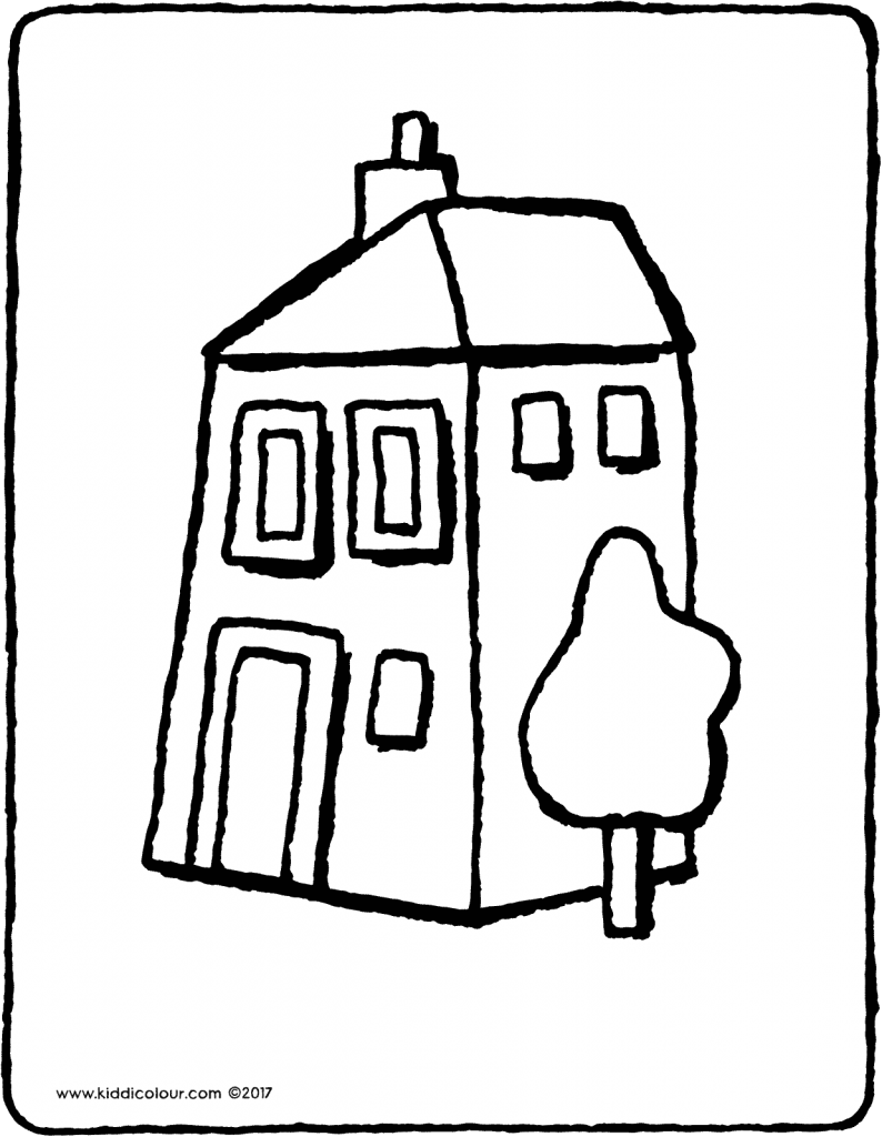house colouring page drawing picture 01V