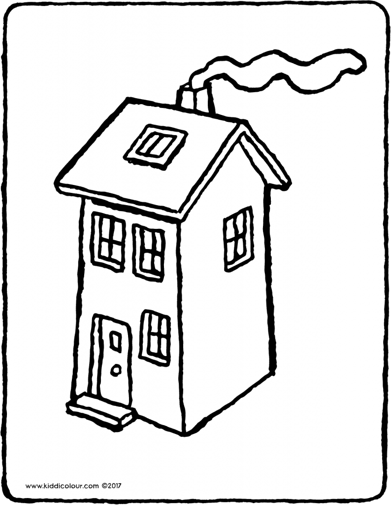 house colouring page drawing picture 02V