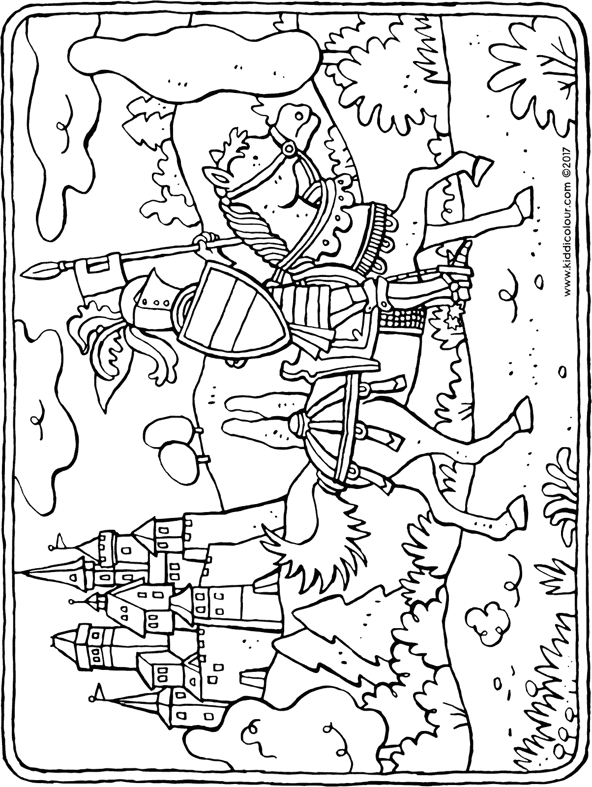 knight on horseback colouring page drawing picture 01H