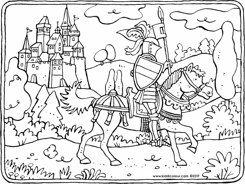 knight on horseback colouring page drawing picture 01k