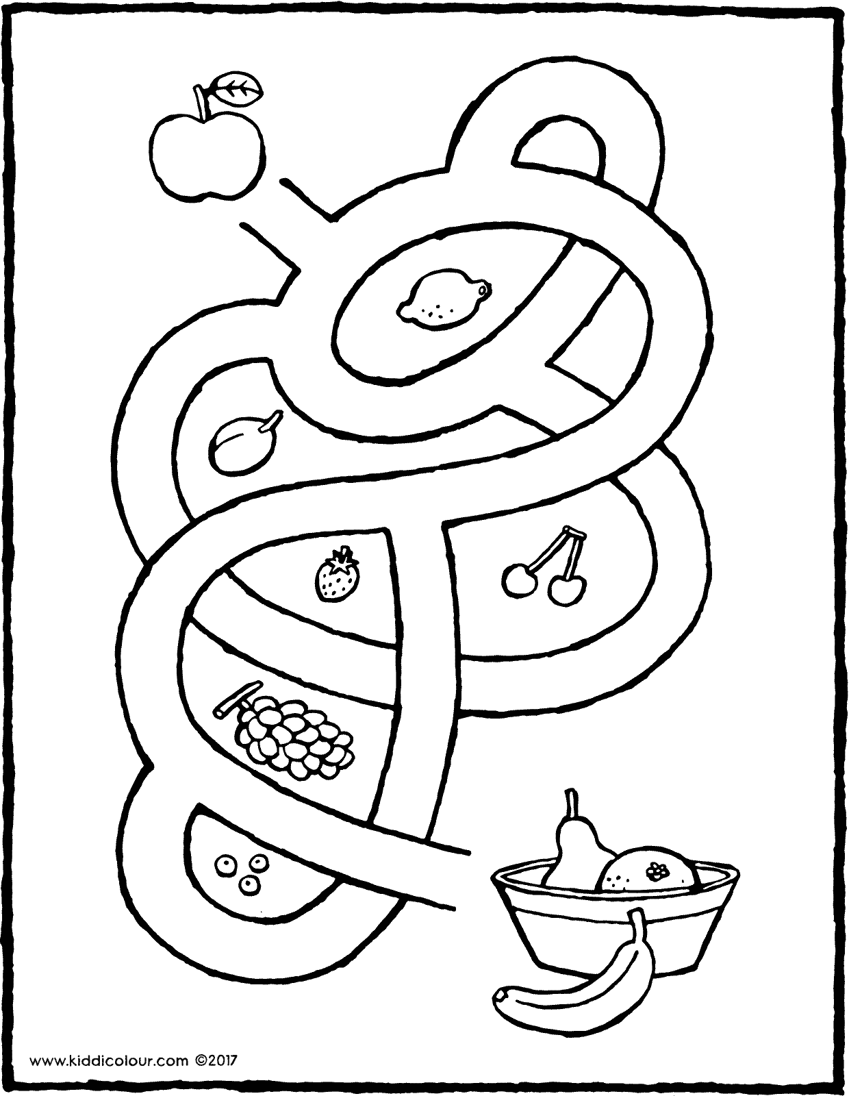 maze with fruit colouring page drawing picture 01V