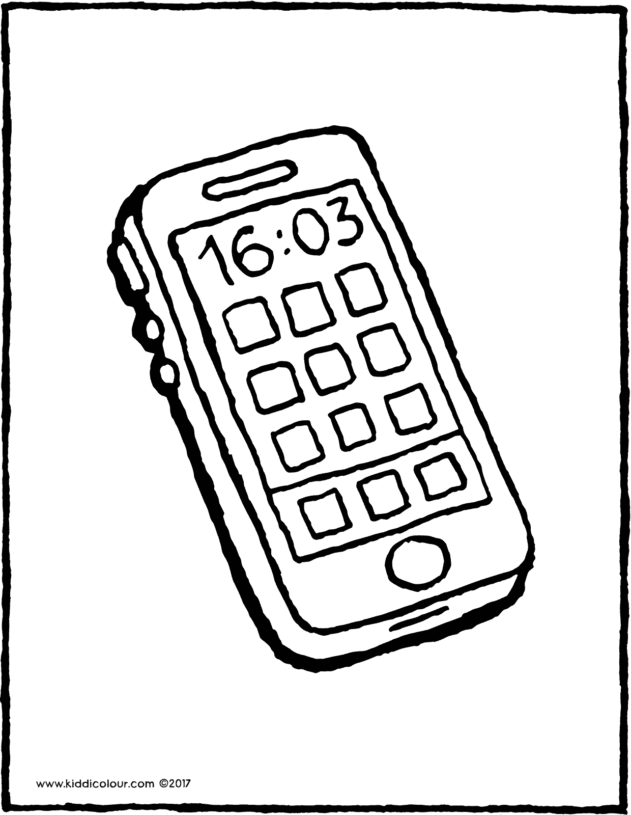 mobile phone colouring page drawing picture 01V