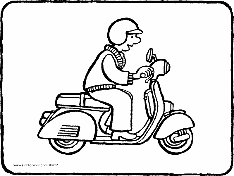 moped colouring page drawing picture 01k