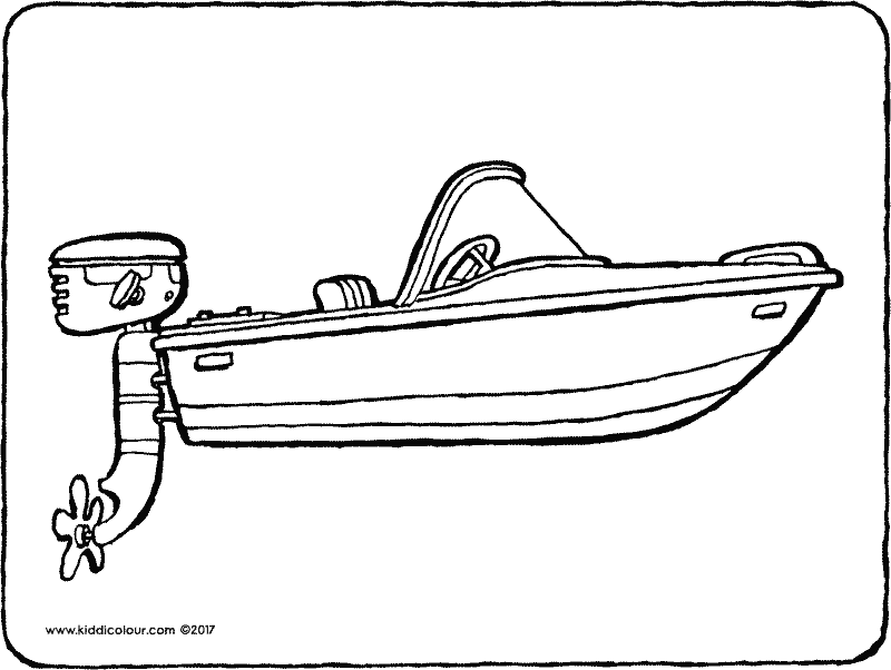 motor boat colouring page drawing picture 01k