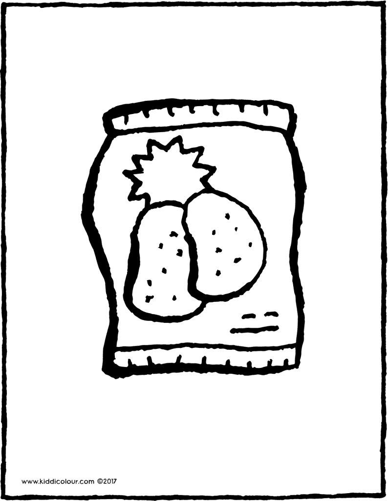 packet of potato chips colouring page drawing picture 01V