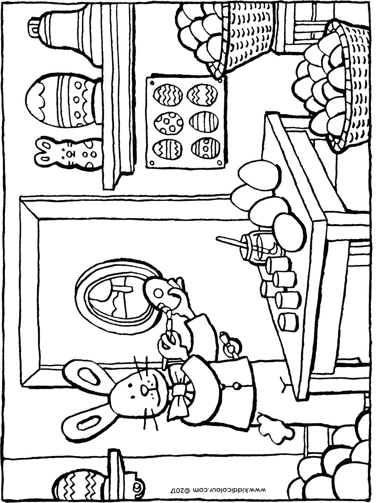 painting Easter eggs colouring page drawing picture 01H
