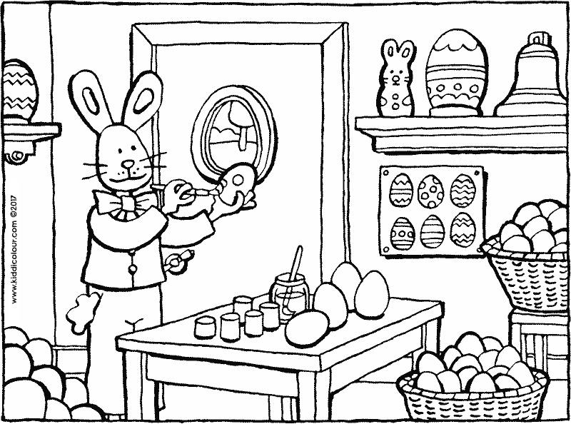 painting Easter eggs colouring page drawing picture 01k