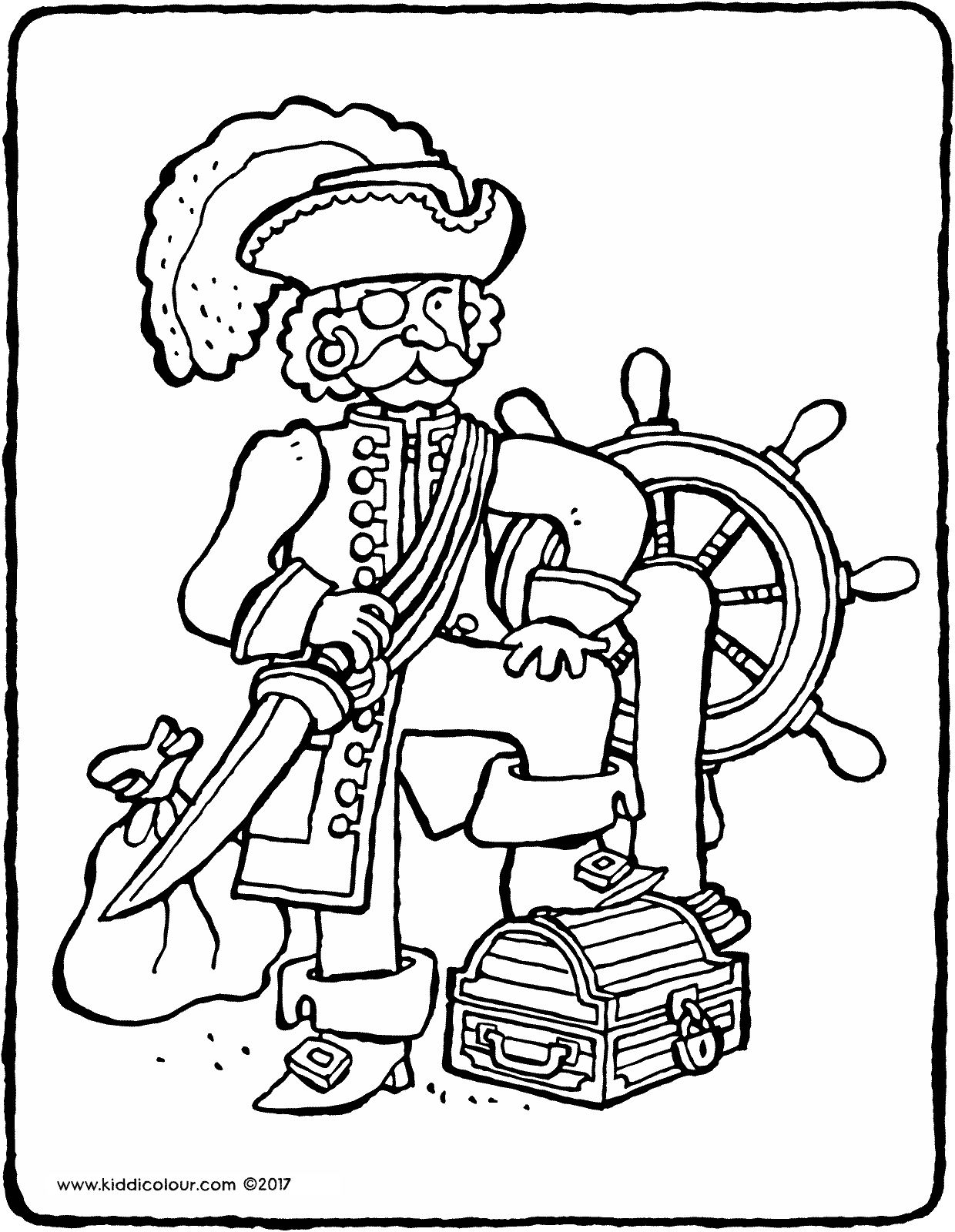 pirate captain colouring page drawing picture 01V