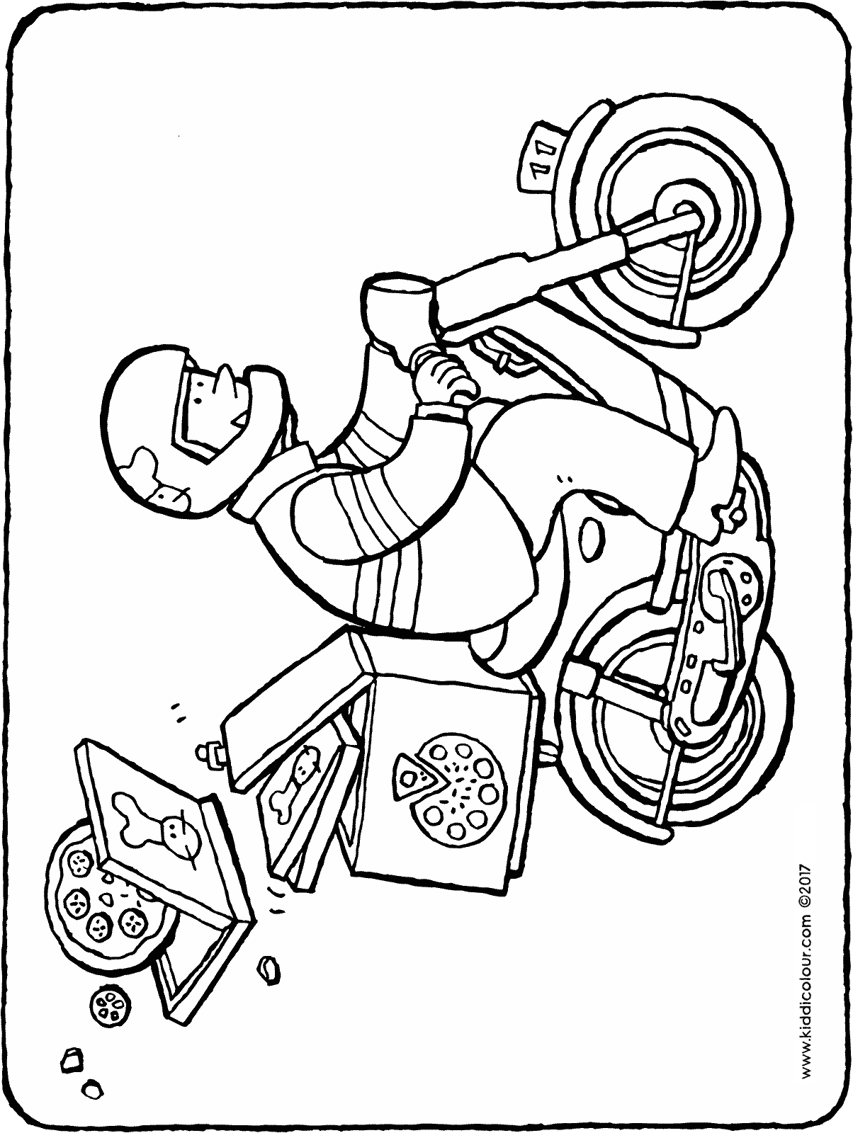 pizza courier colouring page drawing picture 01H