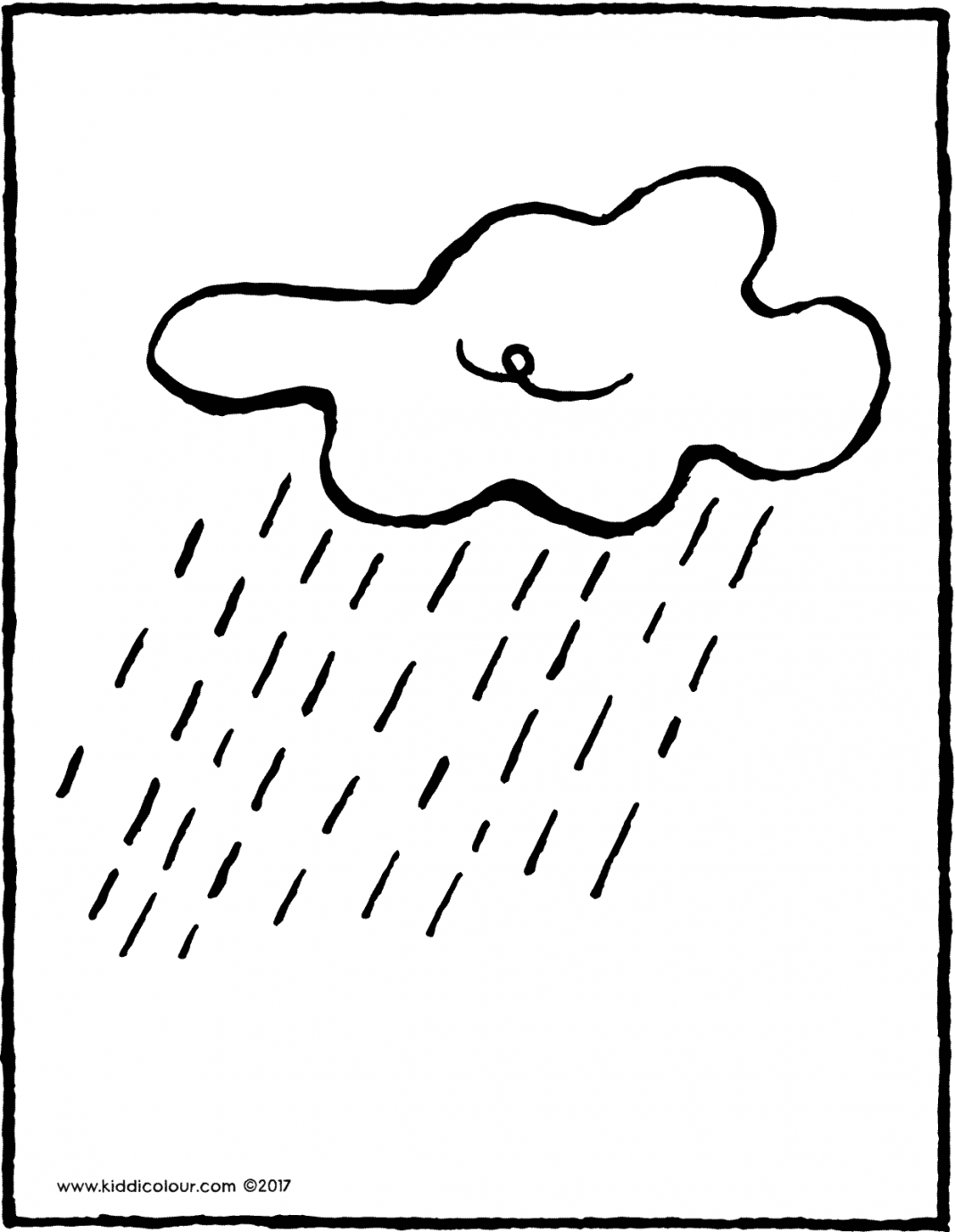 rain cloud colouring page drawing picture 01V
