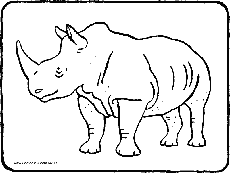 rhinoceros colouring page drawing picture 01k