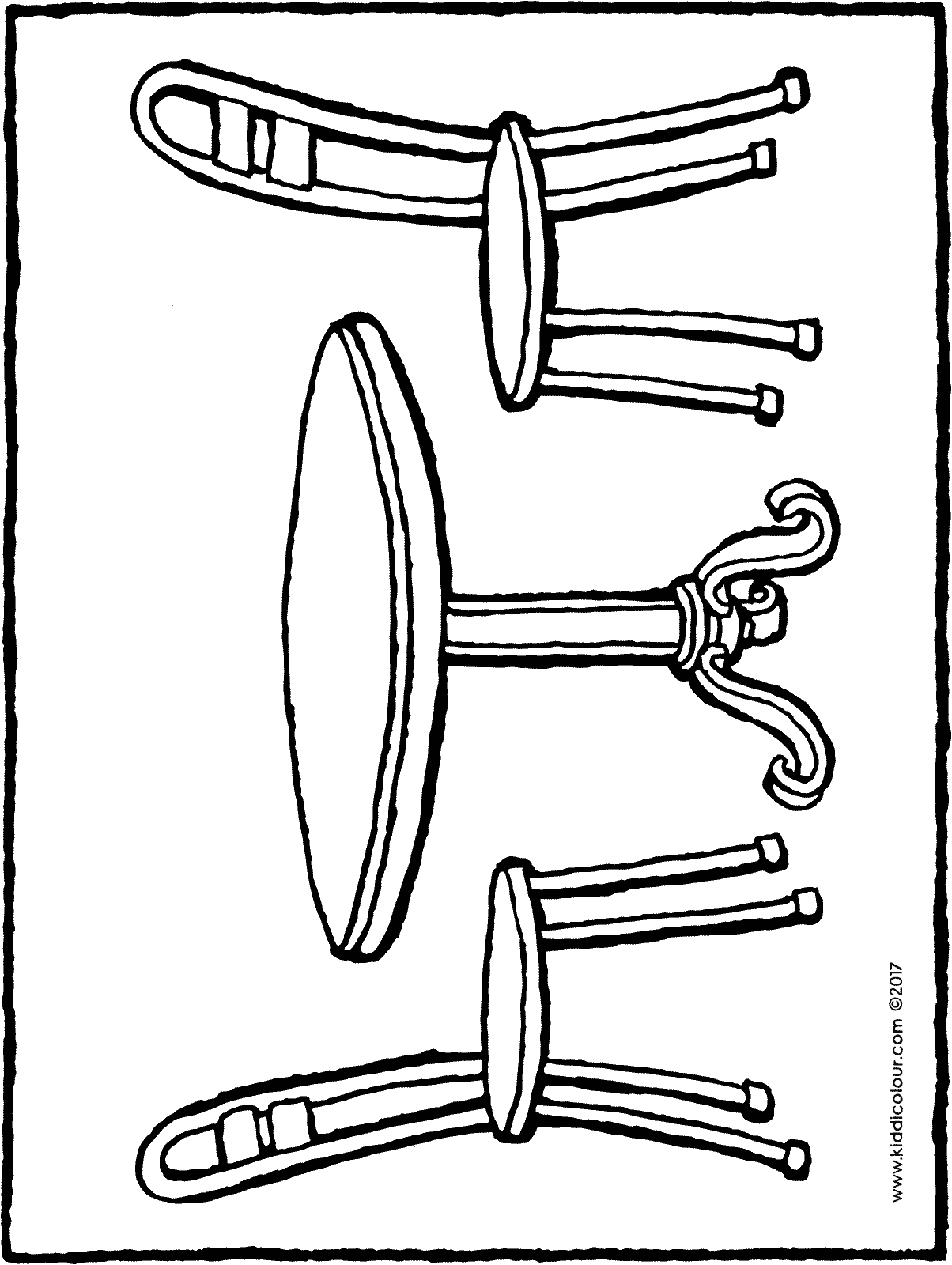 round table and chairs colouring page drawing picture 01H