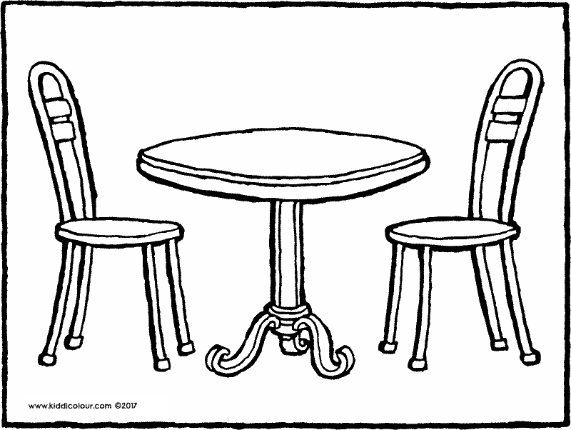 round table and chairs colouring page drawing picture 01k