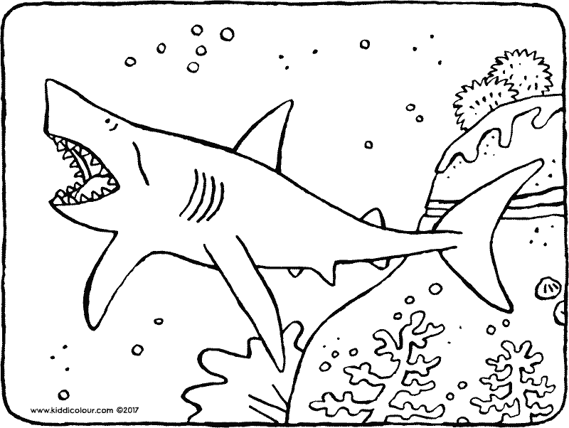 shark in the water colouring page drawing picture 01k