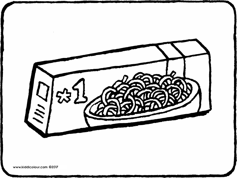 spaghetti in a pocket colouring page drawing picture 01k