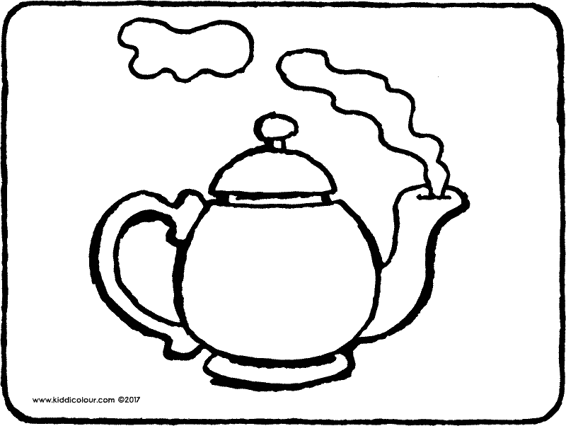 teapot colouring page drawing picture 01k