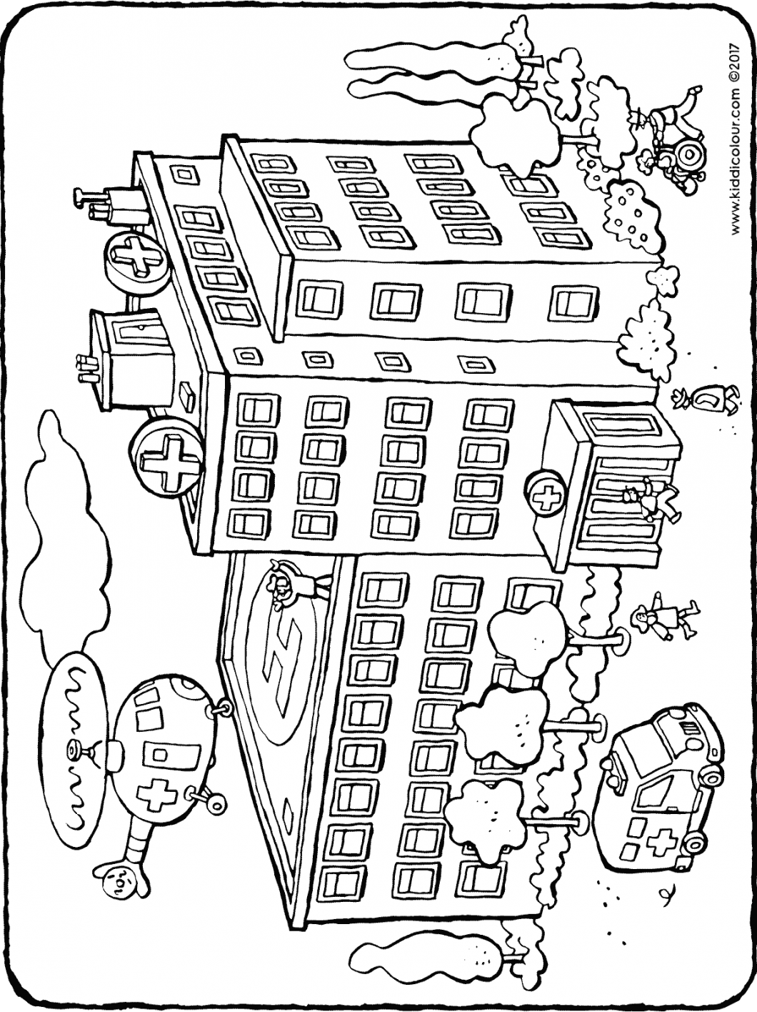 the hospital colouring page drawing picture 01H