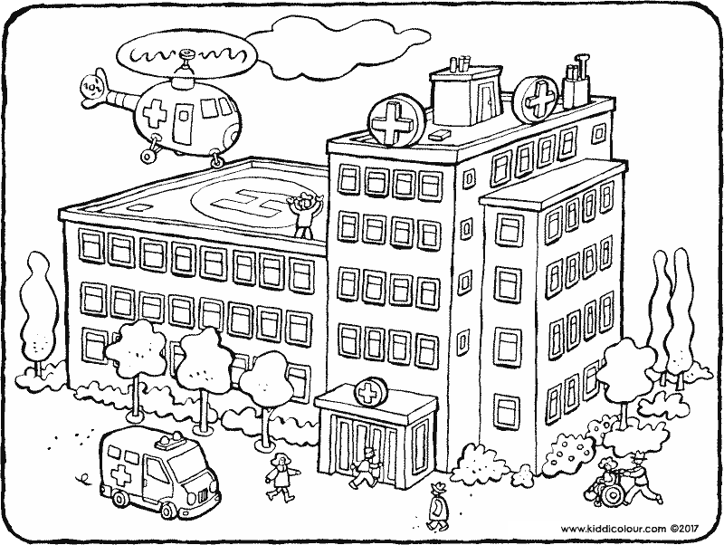 the hospital colouring page drawing picture 01k