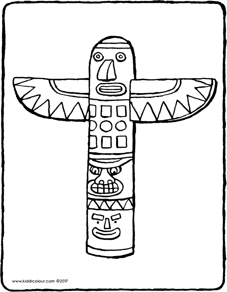 totem pole colouring page drawing picture 01V