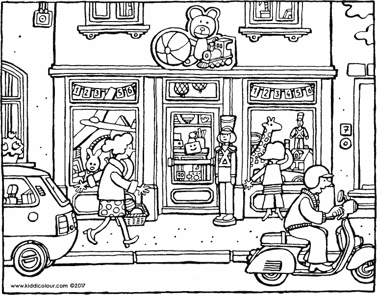 toy shop colouring page drawing picture 01k