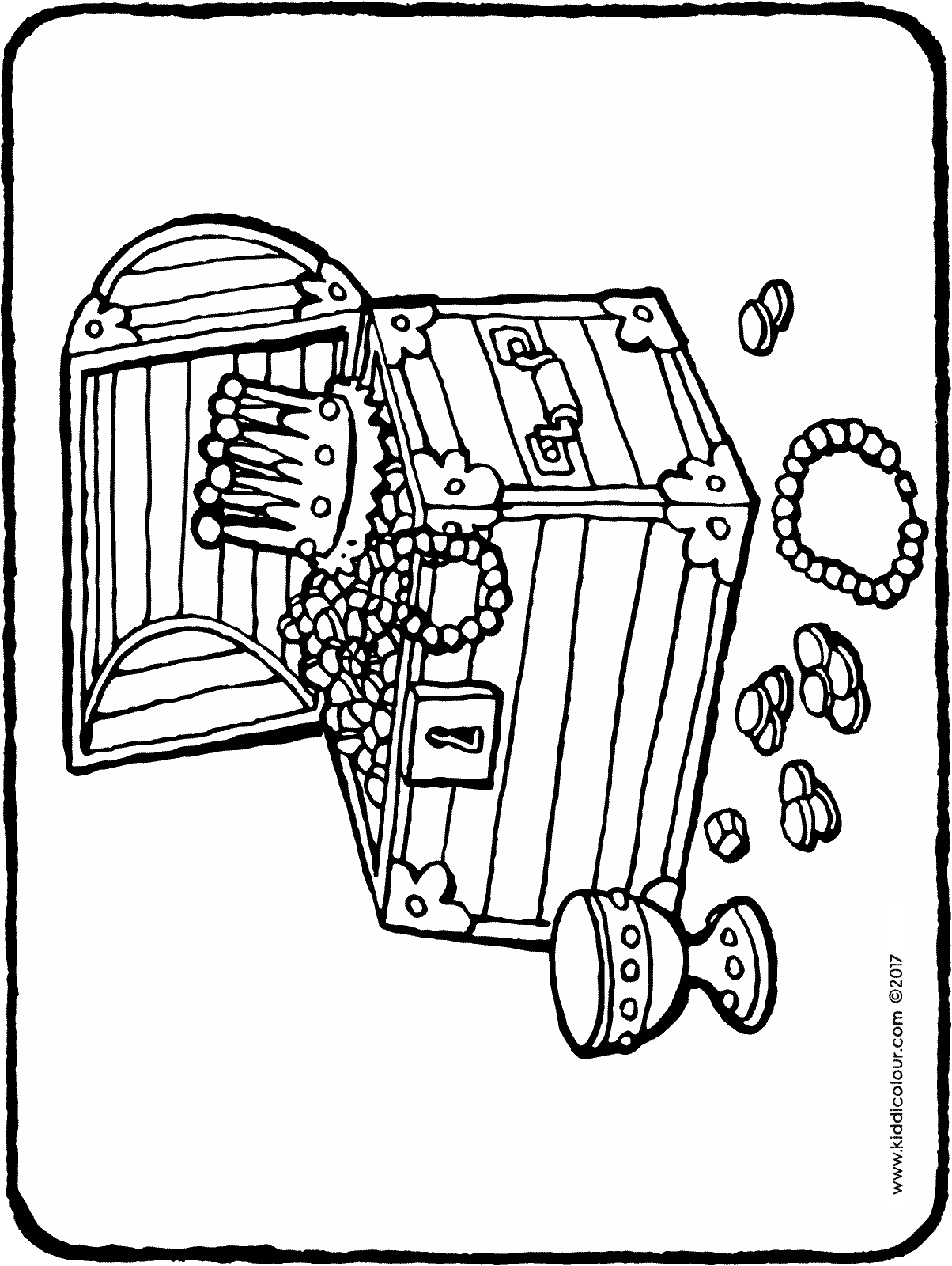 treasure chest colouring page drawing picture 01H